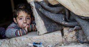 Syrian boy seeking shelter